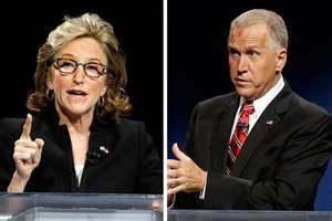 Incumbent Democrat Kay Hagan and Republican Thom Tillis.