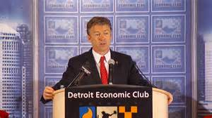 "Kentucky Republican Rand Paul spouts discredited ""trickle down"" economics in Detroit on December 6, 2013."