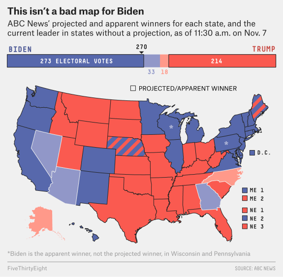 The presidential electoral college map as of Saturday, Nov. 7, when major news services called the race for Biden.